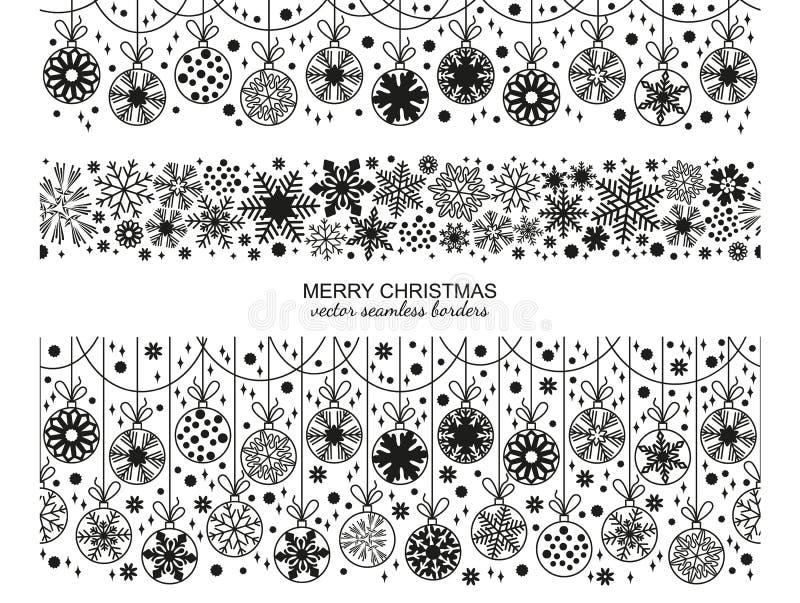 Ensemble sans couture de frontière de flocon de neige, sélection de Noël illustration libre de droits