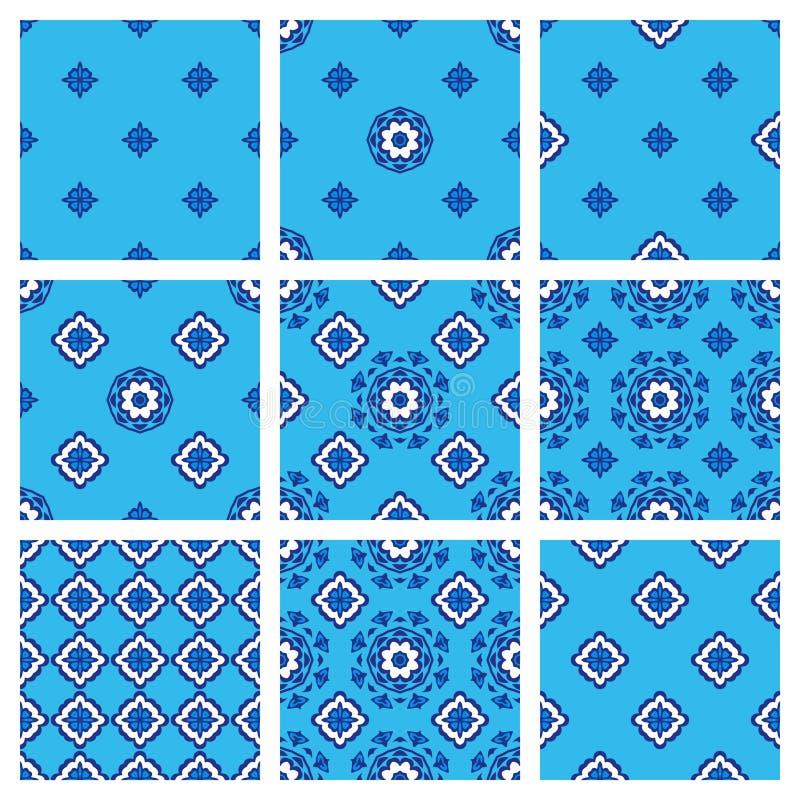 Ensemble sans couture de modèle de collection bleue du tissu neuf illustration stock