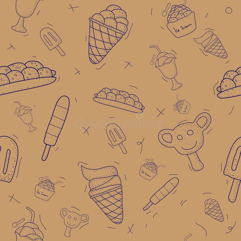 Ensemble sans couture de modèle de glace Style de conception de griffonnage Illustration EPS10 de vecteur illustration libre de droits