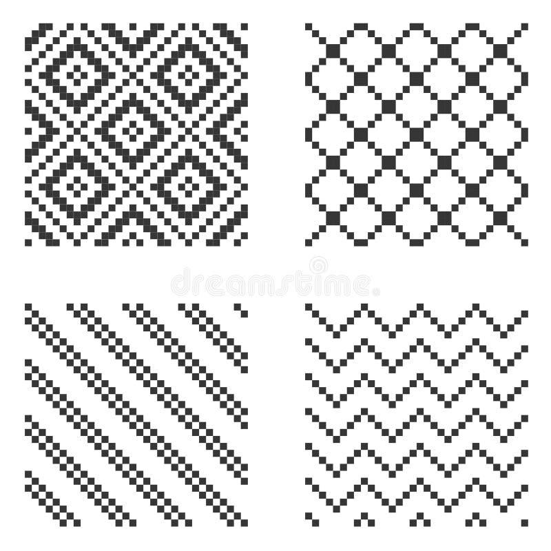 Ensemble sans couture de modèle de pixel Vecteur illustration stock