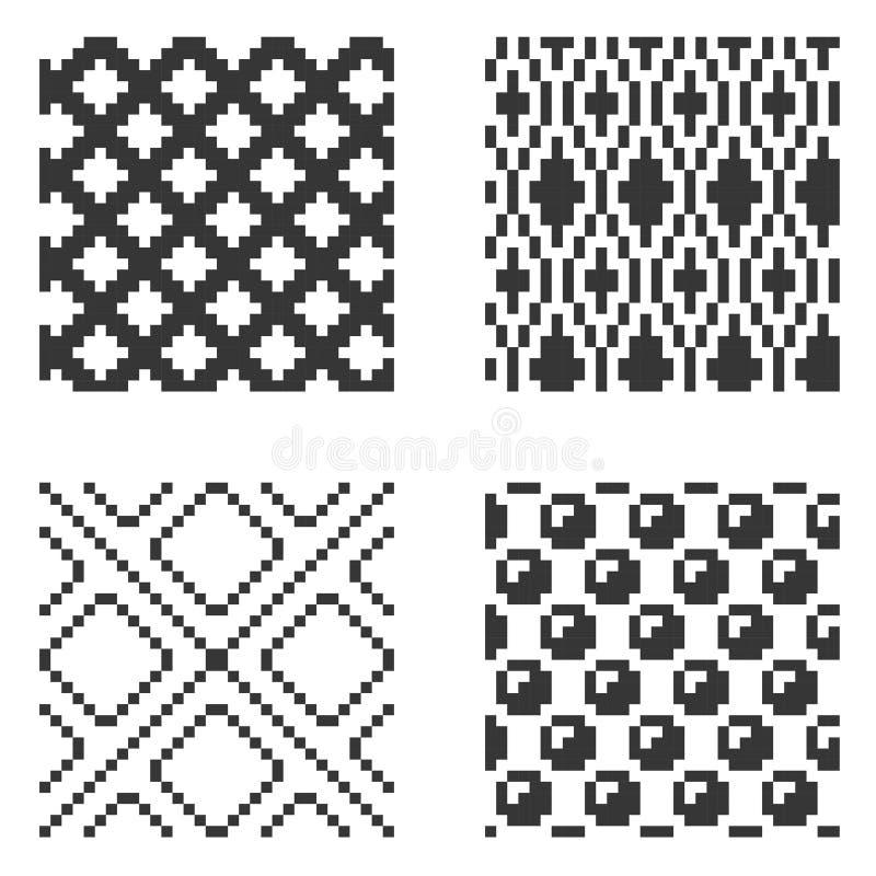 Ensemble sans couture de modèle de pixel Vecteur illustration libre de droits