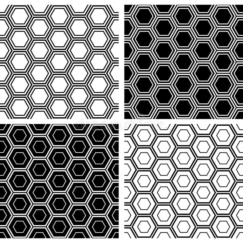 Ensemble sans couture de modèles d'hexagones Milieux géométriques noirs et blancs illustration stock