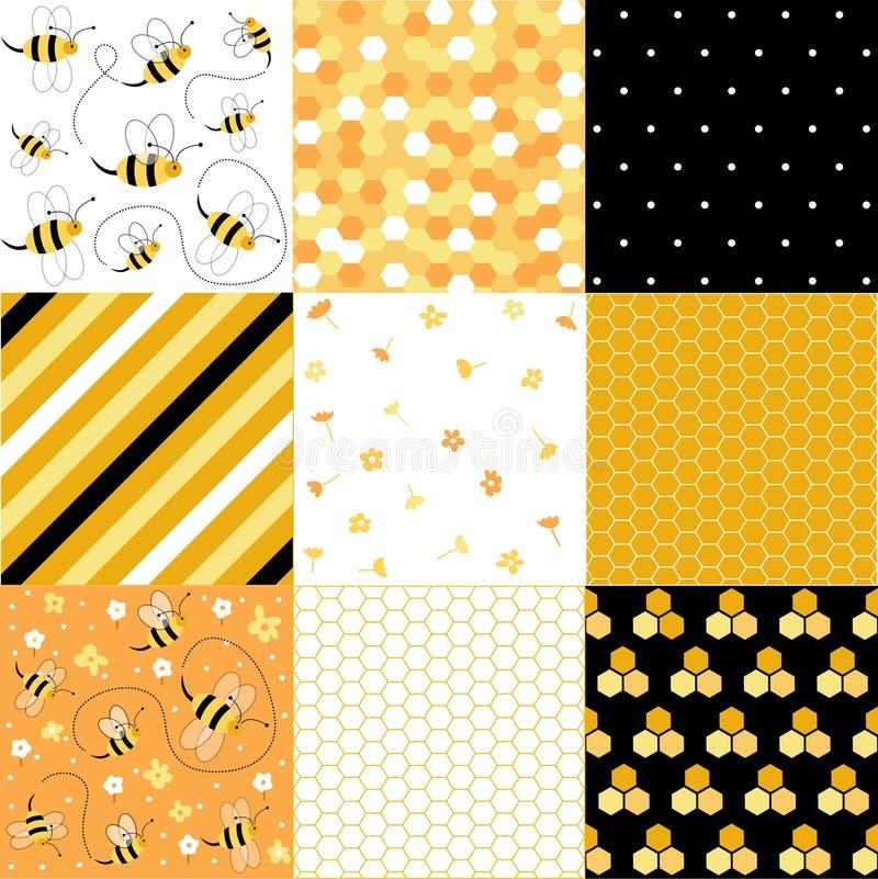 Ensemble sans couture de modèles de miel et d'abeilles illustration stock