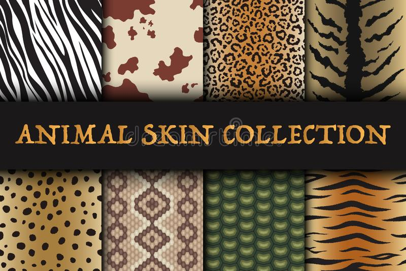Ensemble sans couture de modèles de peau d'animal Textile de safari de girafe, de tigre, de zèbre, de léopard, de reptile, de vac illustration stock