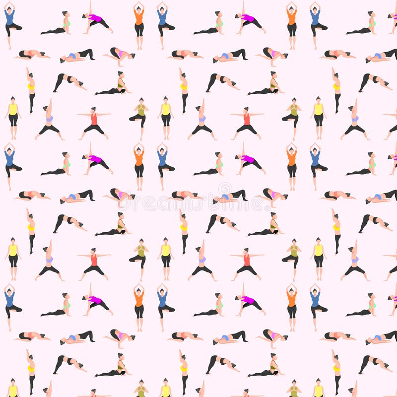 Ensemble sans couture de mod?le de yoga corneille de haut en bas de pigeon de cobra de triangle de pont d'arbre de guerrier de ch illustration libre de droits