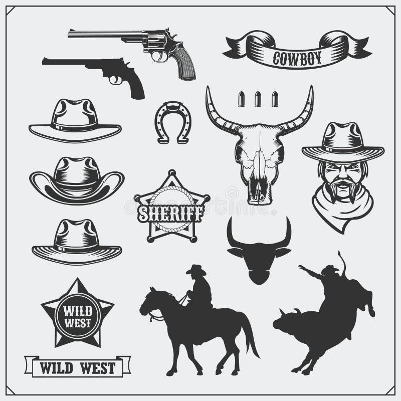 Ensemble sauvage d'ouest d'emblèmes de vintage de rodéo, de shérif et de cowboy, d'icônes et d'éléments de conception illustration libre de droits