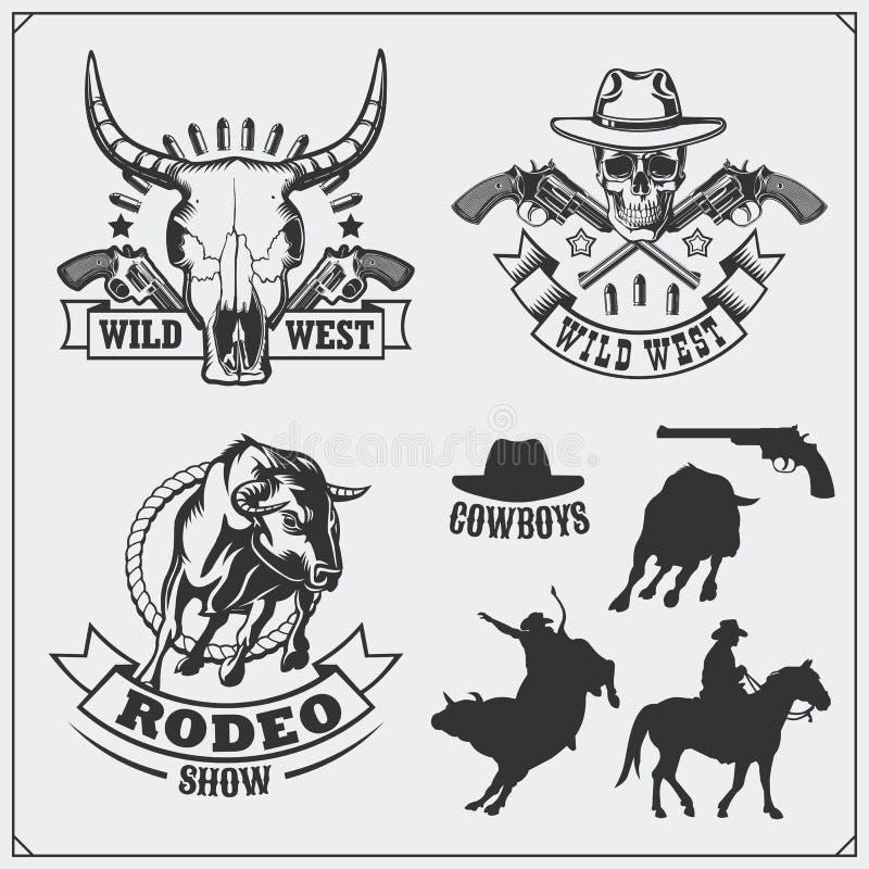 Ensemble sauvage d'ouest d'emblèmes de vintage de rodéo, de shérif et de cowboy, de labels, d'insignes et d'éléments de conceptio illustration stock
