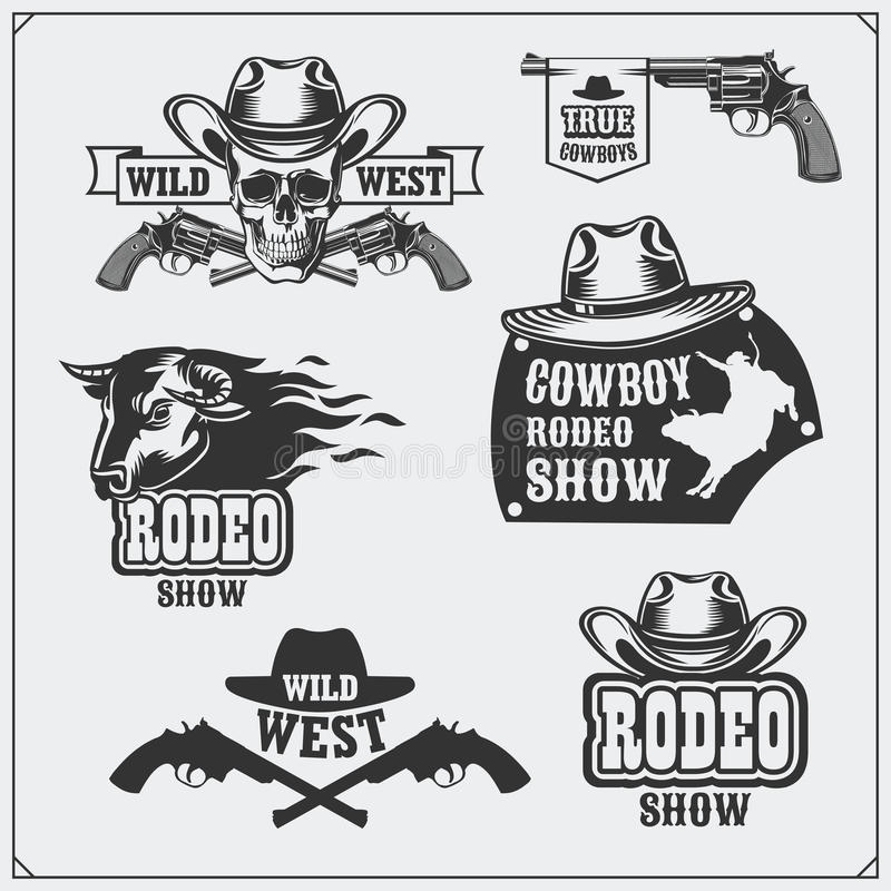 Ensemble sauvage d'ouest de rodéo, d'emblèmes de vintage de cowboy, de labels, d'insignes et d'éléments de conception illustration stock