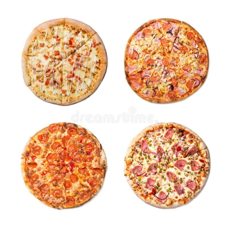 Ensemble savoureux frais de collage de pizza sur le fond blanc Vue supérieure photo libre de droits