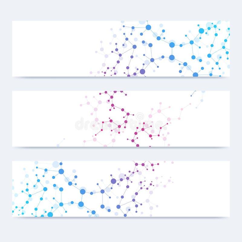 Ensemble scientifique de bannières modernes de vecteur Structure de molécule d'ADN avec les lignes et les points reliés Fond de v illustration de vecteur