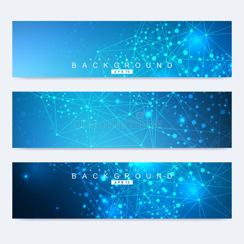 Ensemble scientifique de bannières modernes de vecteur Structure de molécule d'ADN avec les lignes et les points reliés Fond de v illustration stock