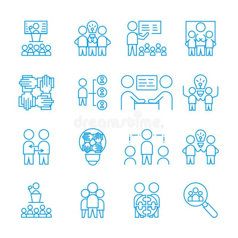 Ensemble simple d'icône de Team Work symbole linéaire blanc de signe de vecteur illustration stock