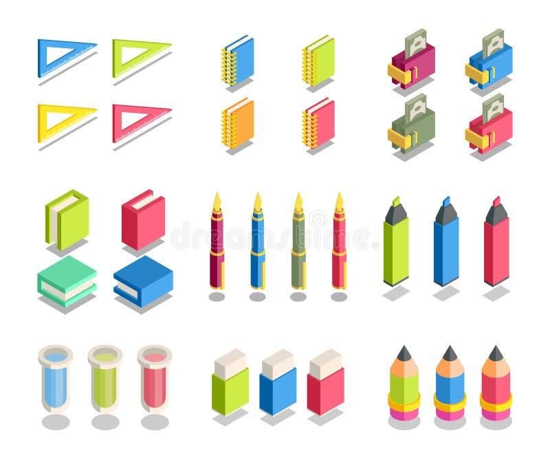 Ensemble simple d'icônes 3D isométriques illustration de vecteur