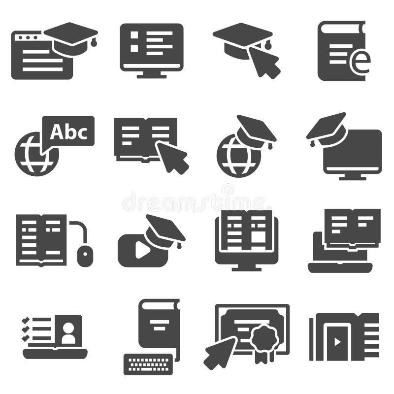 Ensemble simple d'icônes relatives de vecteur d'éducation en ligne illustration stock