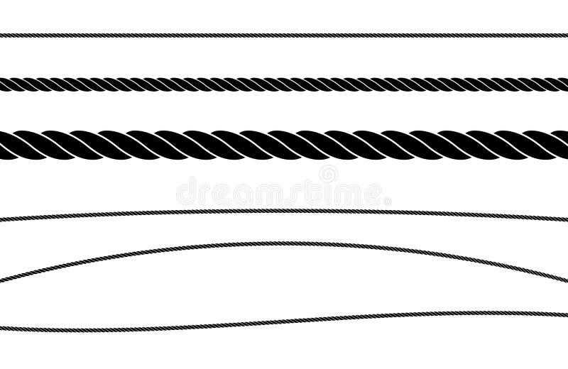 Ensemble simple d'illustration de vecteur de couleur d'appartement de ficelle de corde illustration libre de droits