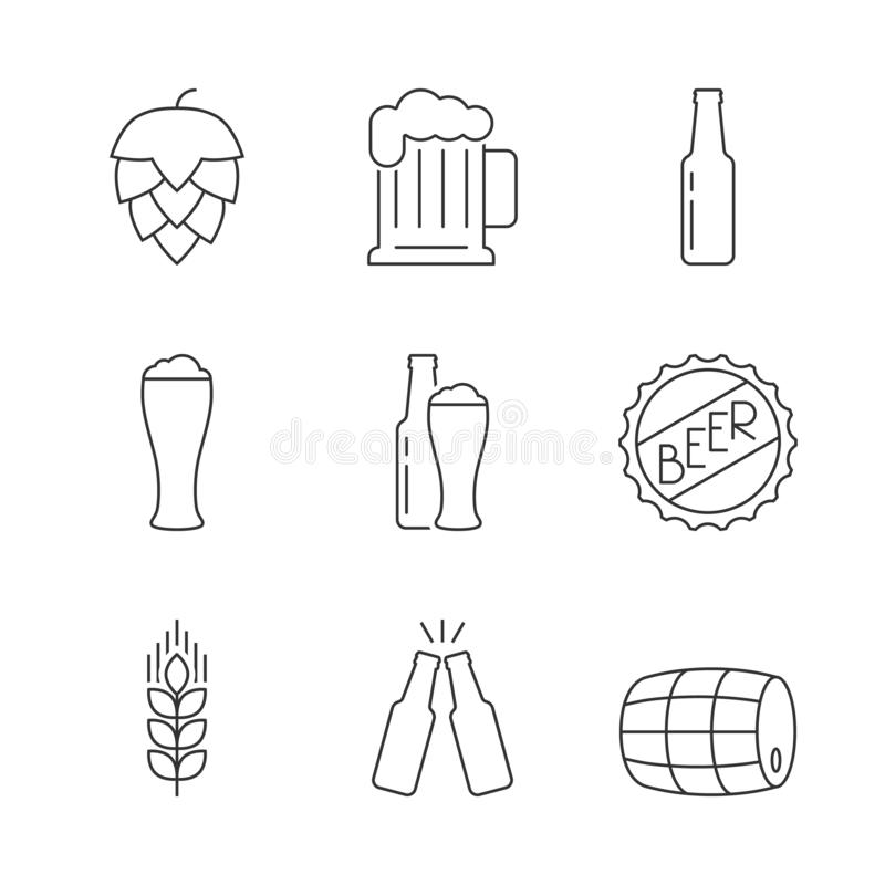 Ensemble simple de bière d'icônes illustration stock