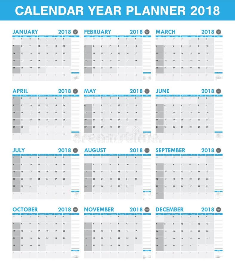 Ensemble simple de calendrier de planificateur de 2018 ans de tout le mois illustration stock
