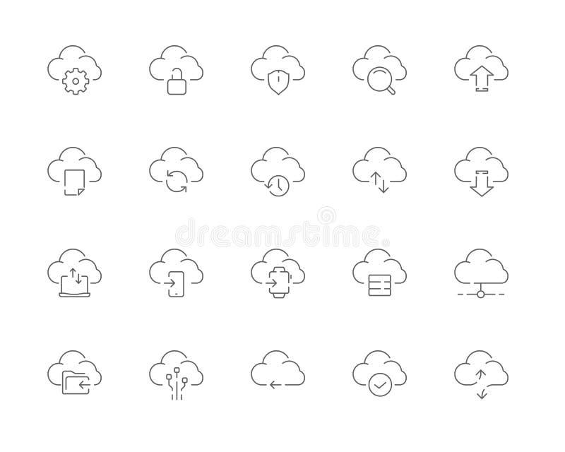 Ensemble simple de ligne de calcul icônes de vecteur de nuage de Web illustration de vecteur