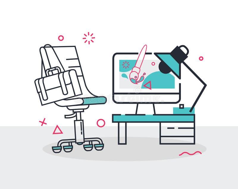 Ensemble simple de ligne illustration de vecteur de bureau et d'ordinateur de chaise de bureau d'icônes illustration stock