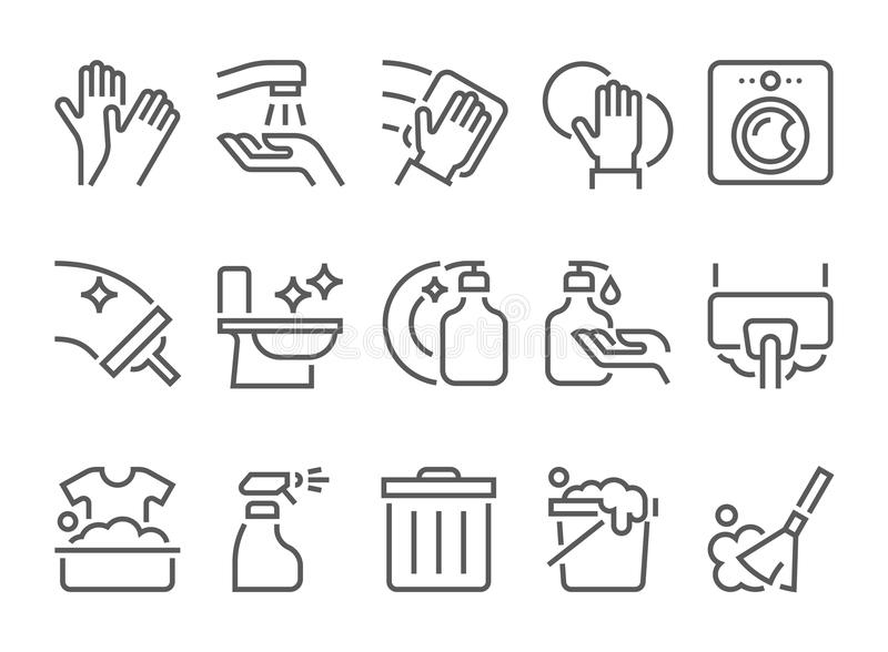 Ensemble simple de ligne plate relative de nettoyage icônes illustration de vecteur