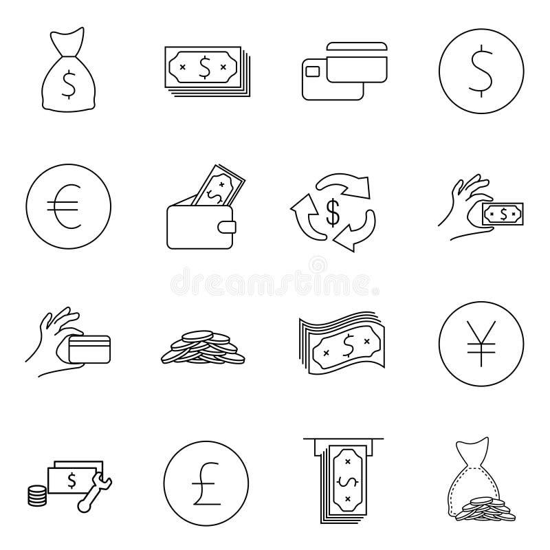 Ensemble simple de ligne relative icônes de vecteur d'argent Contient de telles icônes comme portefeuille, atmosphère, paquet d'a illustration libre de droits