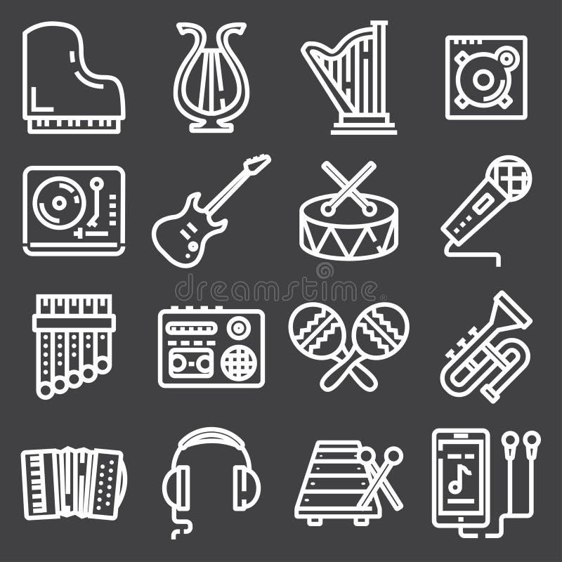 Ensemble simple de ligne relative icônes de vecteur de musique illustration de vecteur