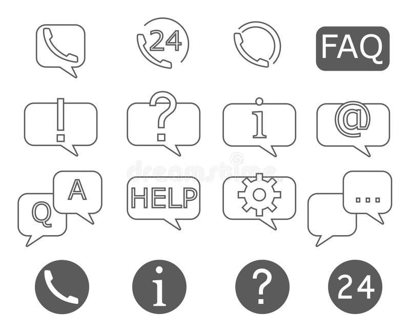 Ensemble simple de ligne relative icônes de vecteur d'aide et de soutien illustration libre de droits