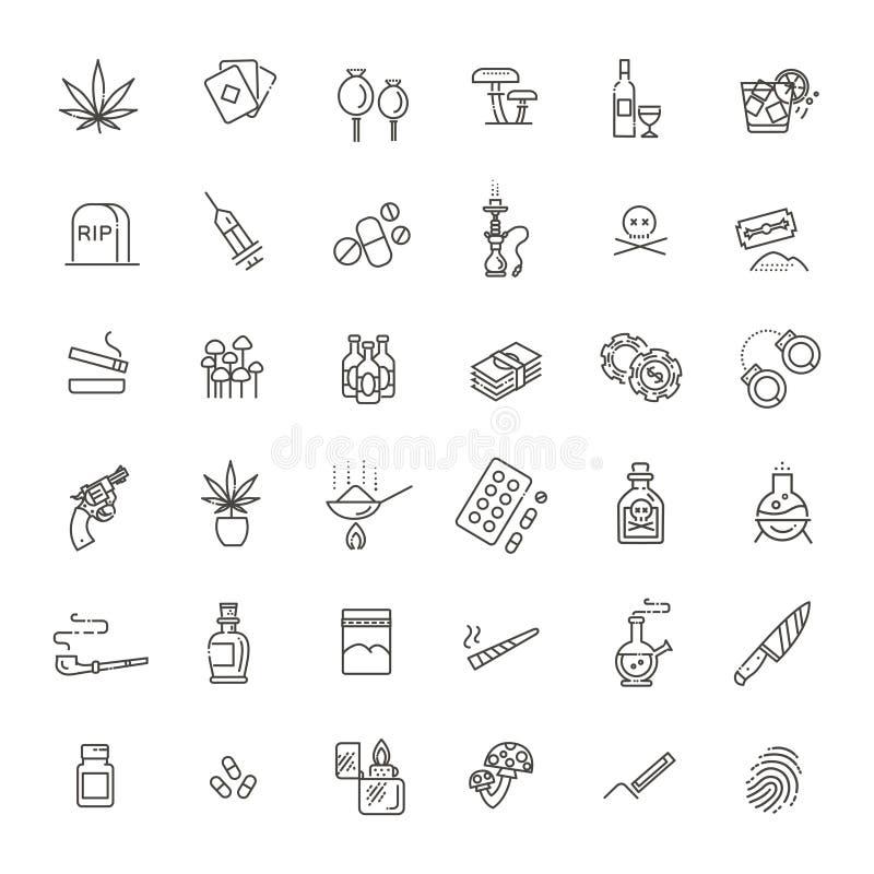 Ensemble simple de ligne relative icônes de vecteur de drogues illustration libre de droits