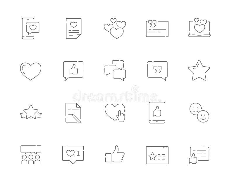 Ensemble simple de témoignages et et de ligne icônes de vecteur de gestion de relations de client de Web illustration de vecteur