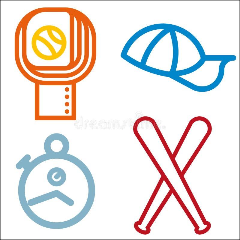 Ensemble simple de vecteur d'icône de l'appartement quatre de base-ball illustration de vecteur