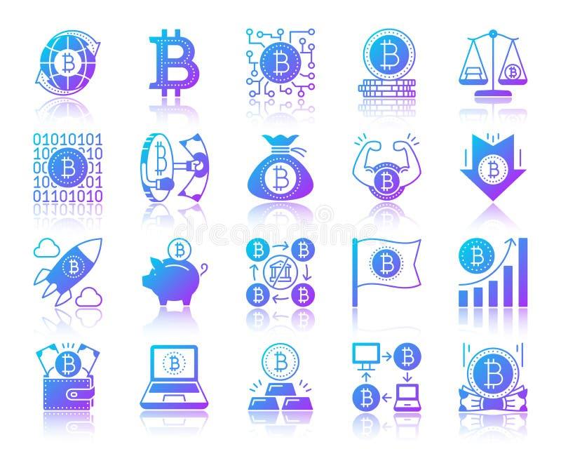 Ensemble simple de vecteur d'icônes de gradient de Bitcoin illustration libre de droits