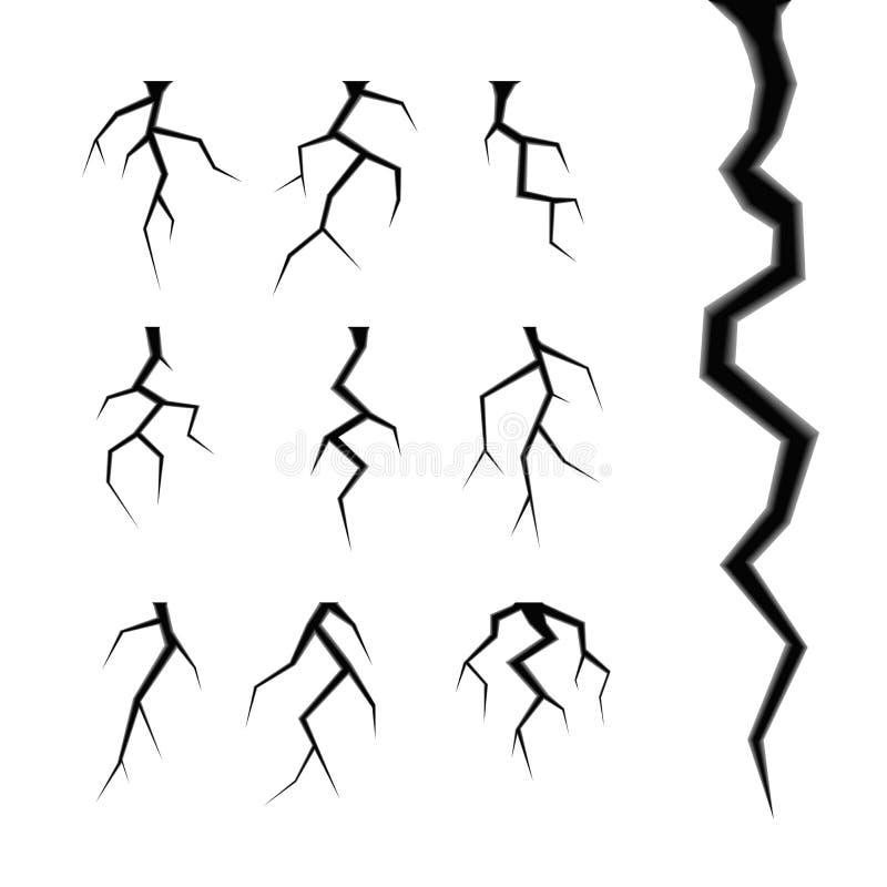 Ensemble simple de vecteur de fissures d'isolement sur le blanc illustration stock