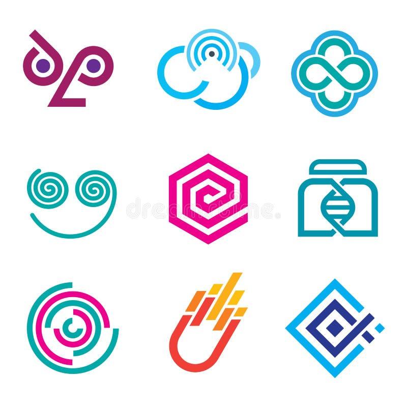 Ensemble social coloré innovateur de la science de réseau d'icônes et de symboles d'ensemble illustration de vecteur