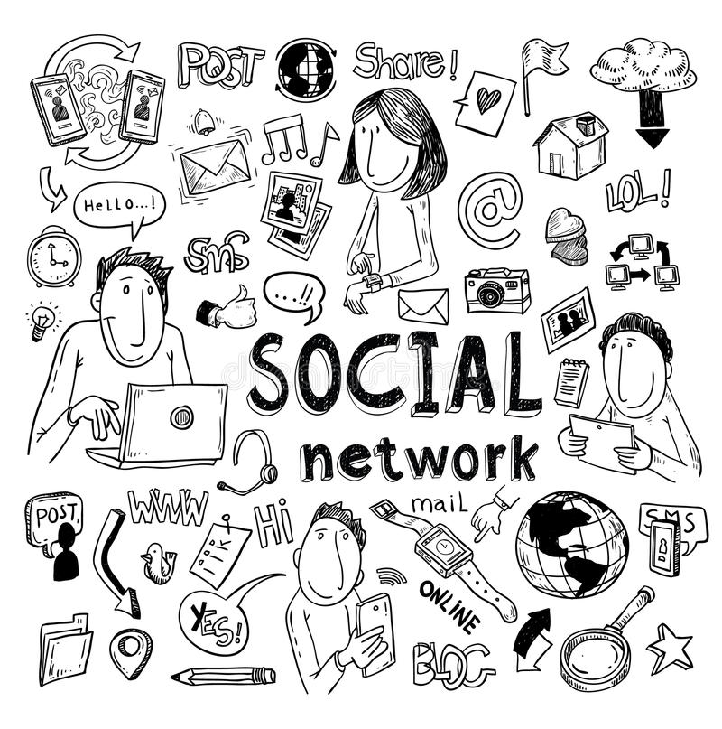 Ensemble social de griffonnage de media illustration tirée par la main de vecteur illustration de vecteur