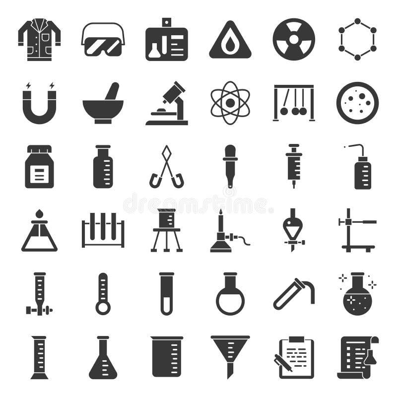 Ensemble solide d'icône d'équipement de laboratoire illustration stock