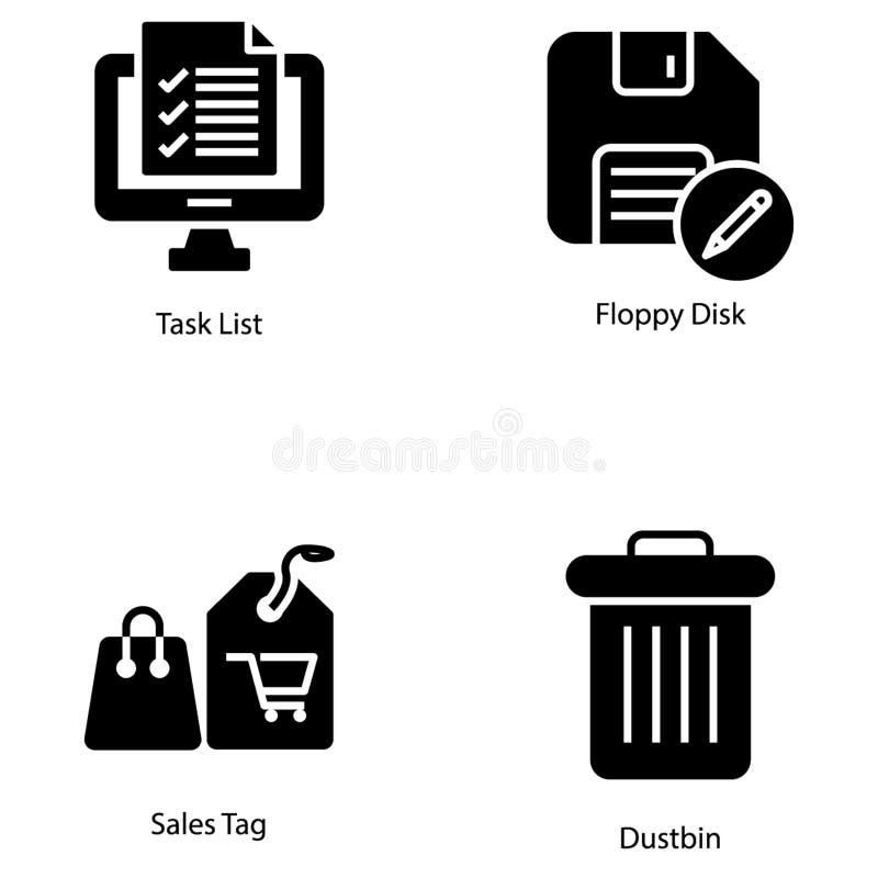 Ensemble solide d'icônes d'interface utilisateurs illustration de vecteur
