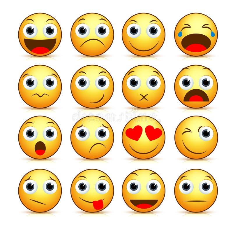 Ensemble souriant de visage de bande dessinée de vecteur d'émoticônes et d'icônes jaunes illustration libre de droits