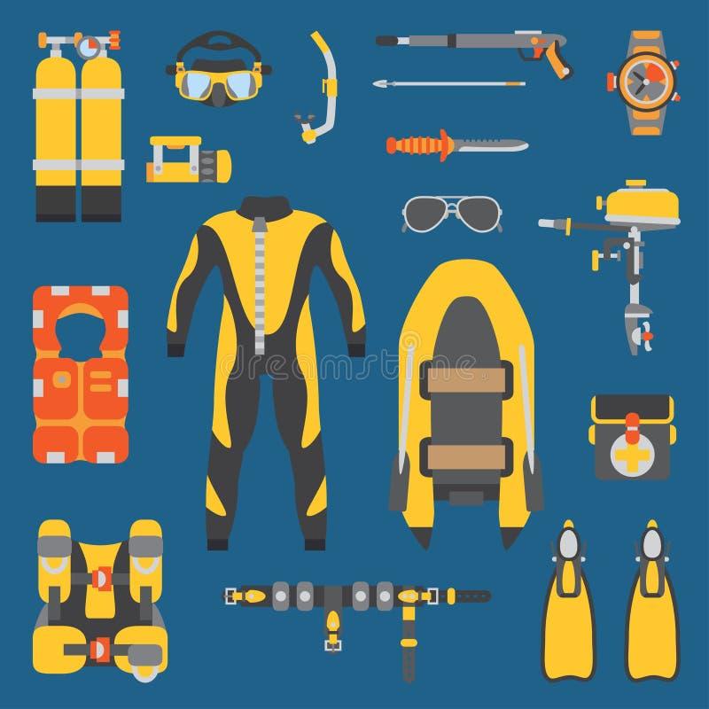 Ensemble sous-marin d'icône d'équipement de couleur de plongeur plat simple de vecteur rétro Type de dessin animé Plage d'océan,  illustration de vecteur