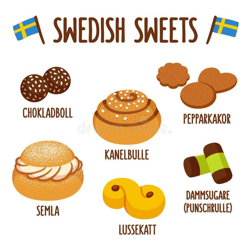 Ensemble suédois de bonbon illustration de vecteur