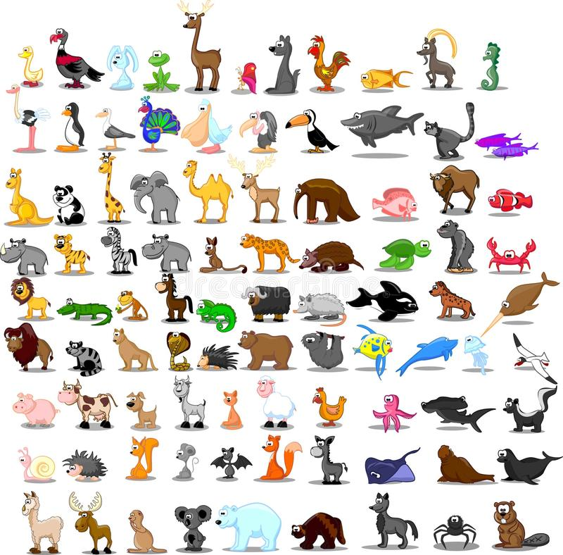 Ensemble superbe de 91 animaux mignons de bande dessinée illustration de vecteur