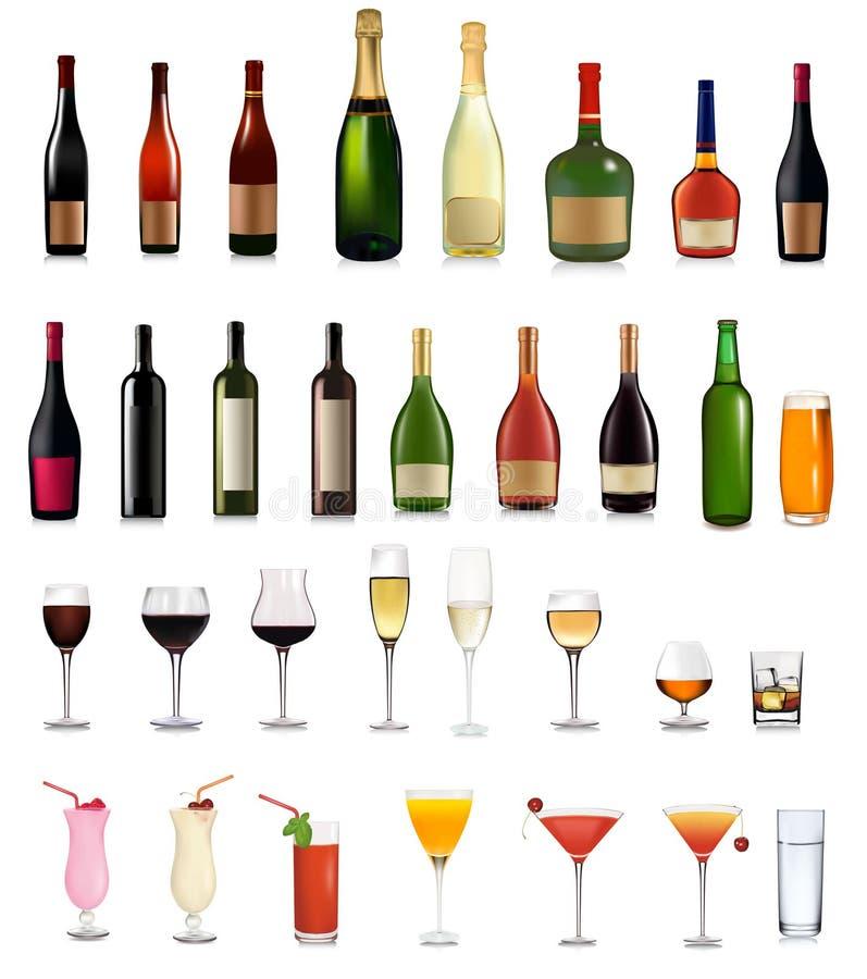 Ensemble superbe de boissons et de cocktail différents de bouteilles illustration de vecteur