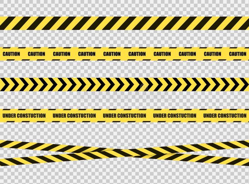 Ensemble sur bande d'arrêt de vecteur, signe dangereux de zone, lignes croisées jaunes et noires lumineuses sur le fond transpare illustration de vecteur
