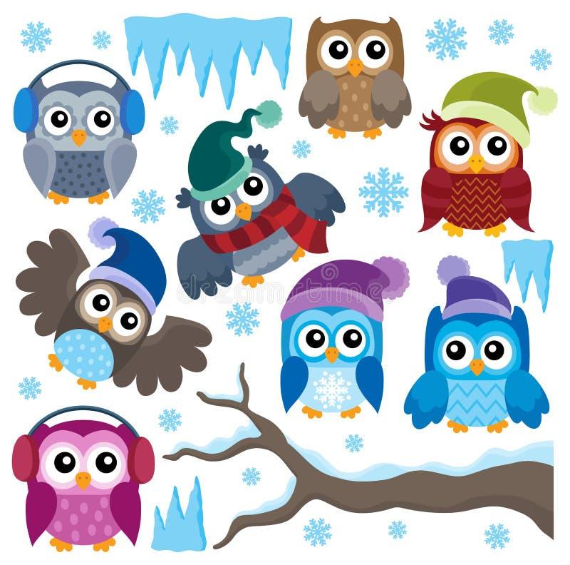 Ensemble thématique 1 de hiboux d'hiver illustration de vecteur