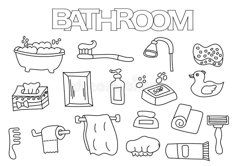 Ensemble tir par la main d 39 l ments de salle de bains for Dessin salle de bain