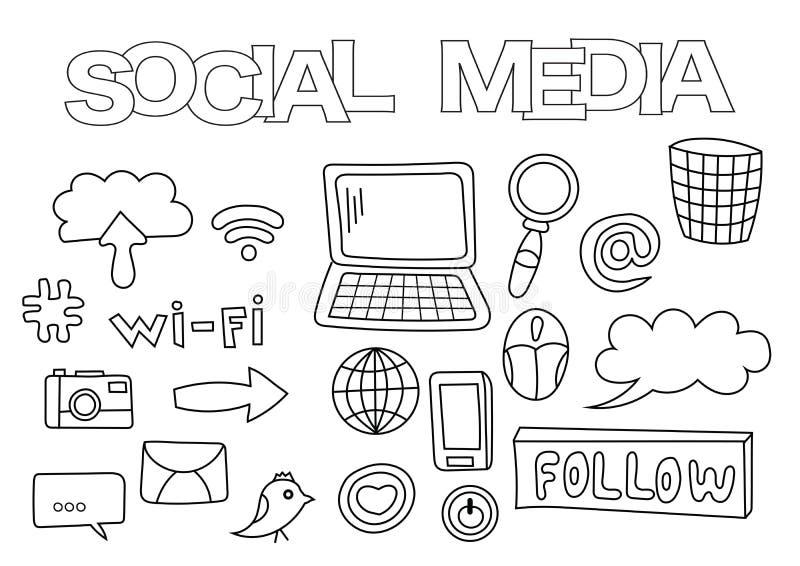 Ensemble tiré par la main d'éléments sociaux de media Calibre de livre de coloriage Griffonnage d'ensemble illustration de vecteur