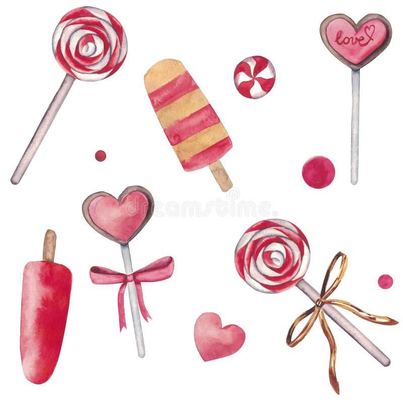 Ensemble tiré par la main d'aquarelle d'éléments d'isolement sur le fond blanc Beaux bonbons roses : glace, sucrerie, coeurs illustration de vecteur