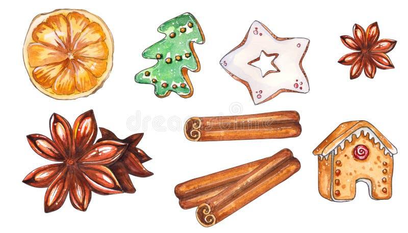Ensemble tiré par la main d'aquarelle de bonbons à Noël illustration libre de droits