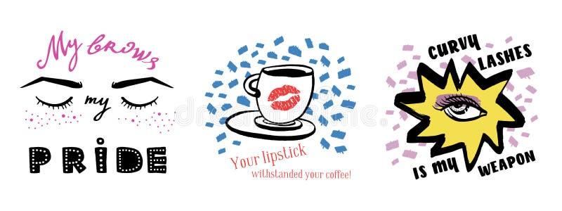 Ensemble tiré par la main d'encre de vecteur d'illustrations avec l'oeil de femme, les yeux fermés et la tasse de café avec le ro illustration stock