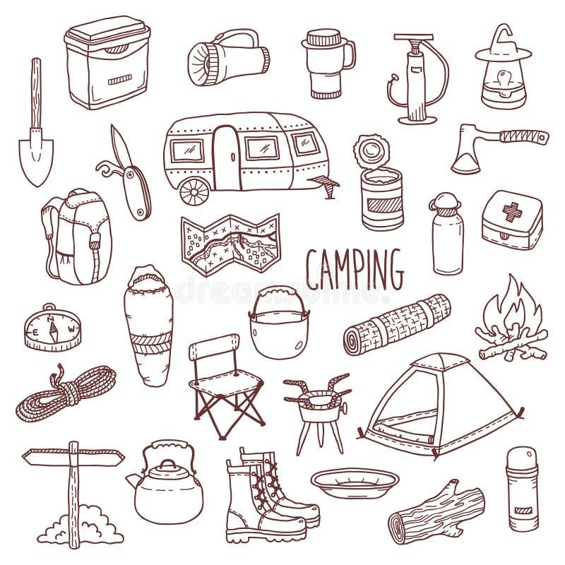 Ensemble tiré par la main d'icône de découpe de vecteur de camping illustration stock