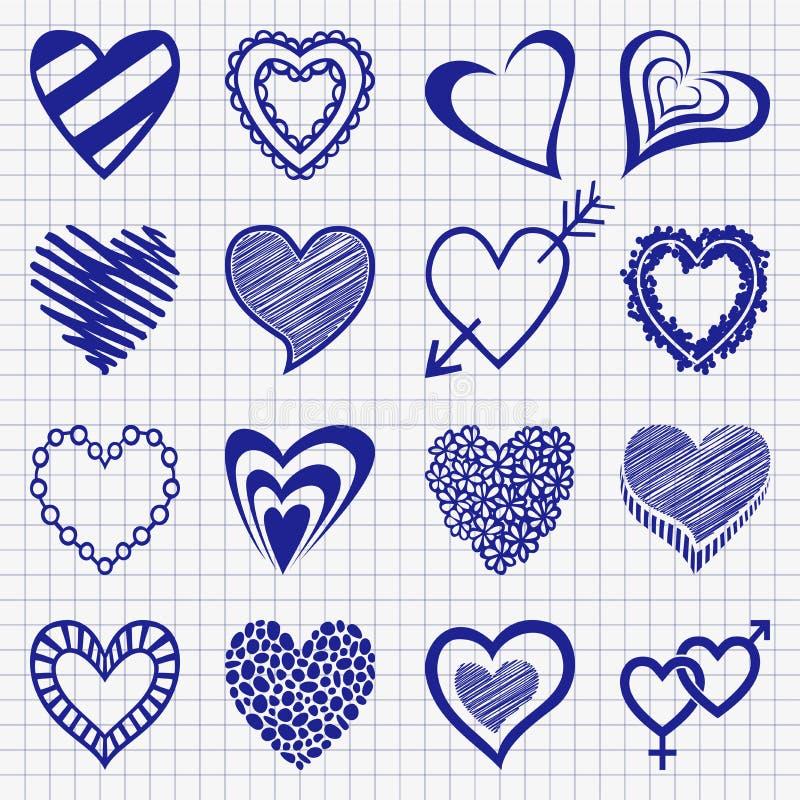 Ensemble tiré par la main d'icônes de coeur sur un papier à carreaux illustration stock